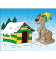dog in winter vector image