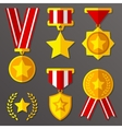 Flat medals and awards set with stars icon vector image