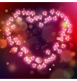 glowing pink hearts background eps 10 vector image