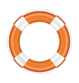 Orange lifebuoy with white stripes and rope vector image