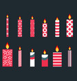 set of christmas candles in a flat style vector image