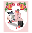 Pink Motor Scooter with flowers vector image