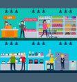 people in shop horizontal banners vector image