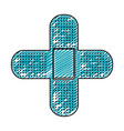 color pencil drawing of band aid in shape of cross vector image