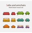 Icon set of sofas and armchairs vector image