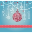 Christmas card with ballgarlandsgiftslettering vector image