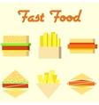 fast food icons mono symbols vector image