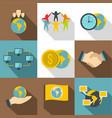 international work icons set flat style vector image