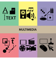 various multimedia icons and symbols set eps10 vector image