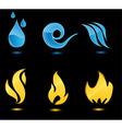 water and fire glossy icons vector image
