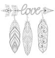 Bohemian Arrow Hand drawn Amulet wih word Love vector image