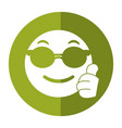 sunglasses and thumb emoticon style icon shadow vector image