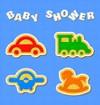 set of wooden toys vector image vector image