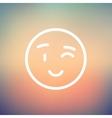 Winking emoticon thin line icon vector image