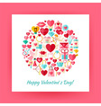 Flat Style Circle Set of Happy Valentine Day vector image