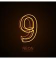 Neon 3D number 9 vector image