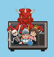 videogames characters cartoons on old tv vector image