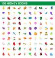 100 honey icons set cartoon style vector image
