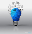 Light bulb with drawing graph inside vector image vector image
