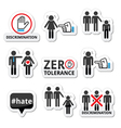 Stop discrimination of men and women icons set vector image