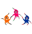 Three cheerful colorful one-eyed monsters vector image