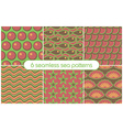 6 different seamless sea patterns tiling vector image