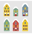 Set of images of winter Dutch house vector image