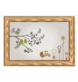 wood frame with floral and birds vector image