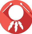 American Indian Drum and Sticks Icon vector image