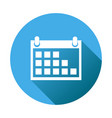calendar icon on blue round background flat vector image