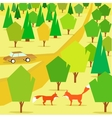 countryside forest hills and pathway vector image
