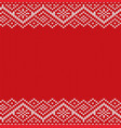 knitted red christmas geometric ornament winter vector image