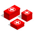 medical first-aid kits set of red boxes with a vector image