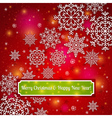 red background of snowflakes with label vector image