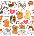 Seamless pattern with dogs and hearts vector image