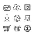 social media network communication outline icons vector image