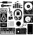 Sound equipment black icons vector image