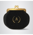 VIP Black leather purse with gold clasp vector image