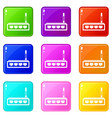 router icons 9 set vector image