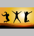 Silhouette of Happy Jumping People vector image vector image