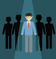businessman of leader Standing out of the cround vector image