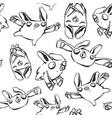 black lines bats pattern vector image
