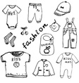 Clothes for baby boy set hand drawn sketch vector image