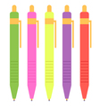 Colorful pen set isolated on white vector image