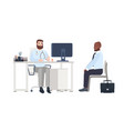 doctor or medical adviser sitting at desk with vector image