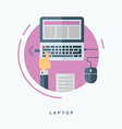 Flat Style Laptop Concept Man Working with Laptop vector image