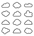 Set of twelve different shapes of clouds vector image