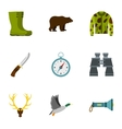 Hunting in forest icons set flat style vector image