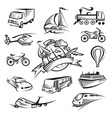 set of icons of transport vector image