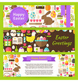 Happy Easter Template Banners Set in Modern Flat vector image